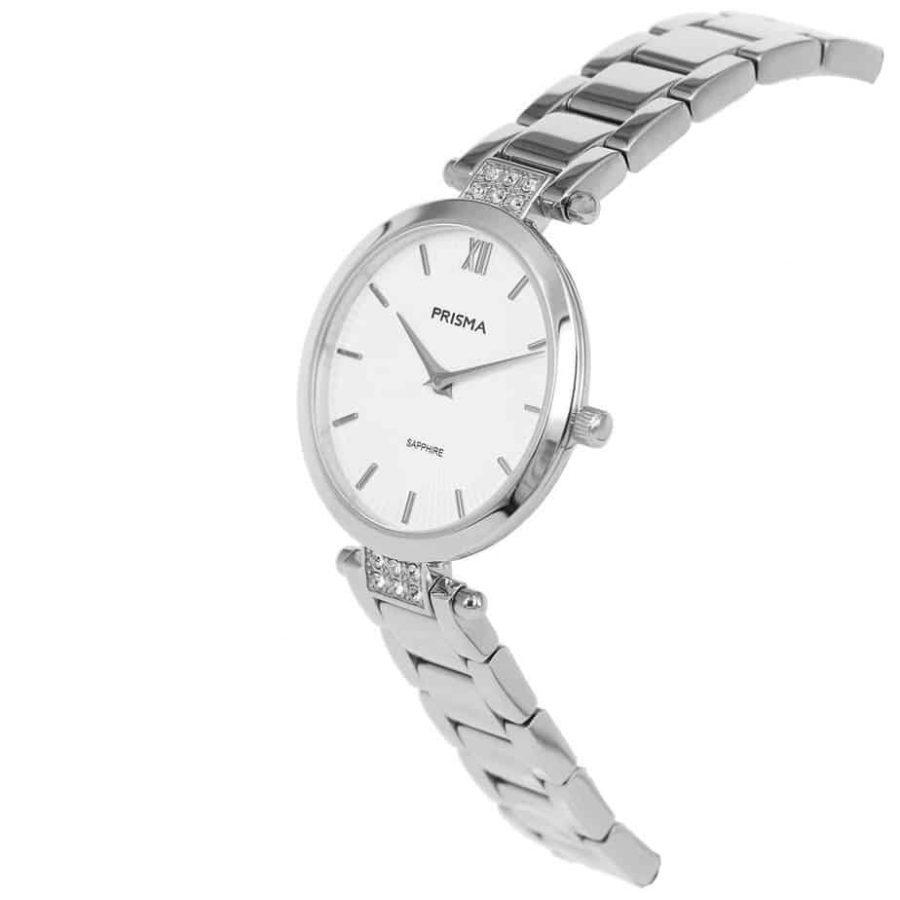 Prisma P1975 dames horloge edelstaal zilver strass schuin
