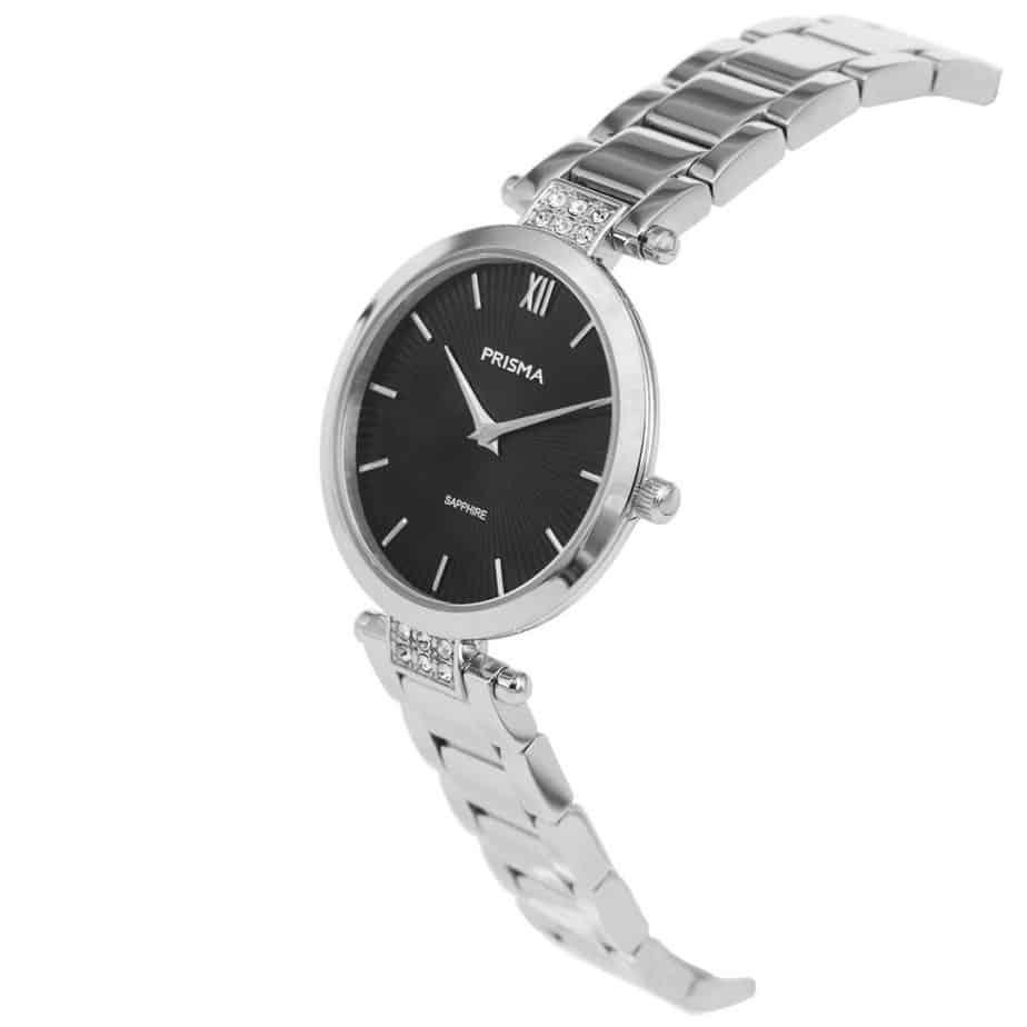 Prisma P1976 dames horloge edelstaal zilver strass schuin