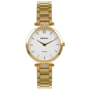Prisma P1977 dames horloge edelstaal goud strass