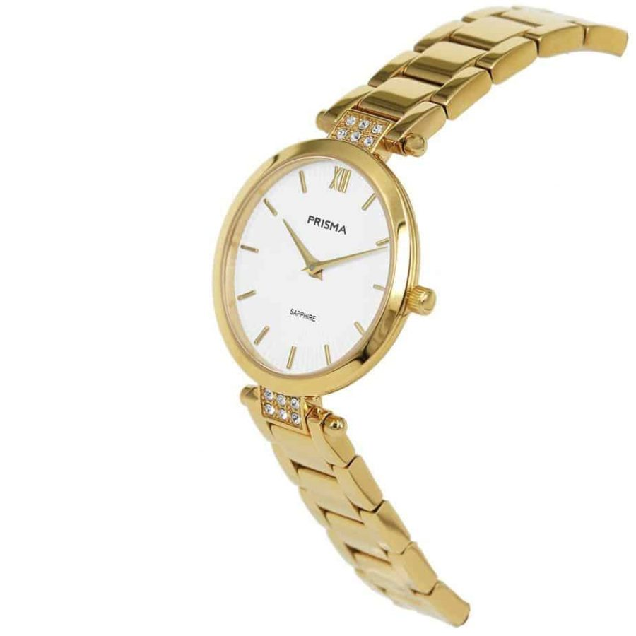 Prisma P1977 dames horloge edelstaal goud strass schuin