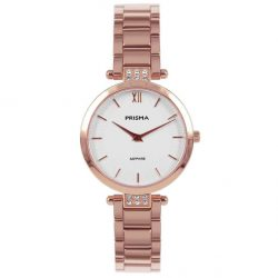 Prisma P1978 dames horloge edelstaal rosegoud strass