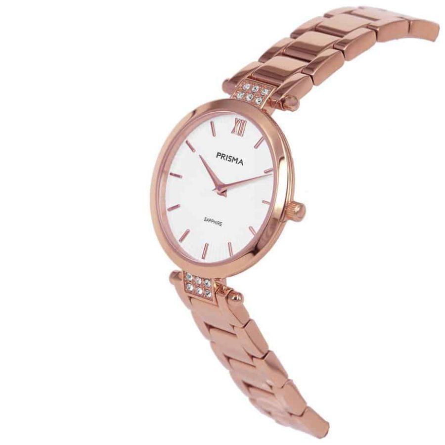 Prisma P1978 dames horloge edelstaal rosegoud strass schuin