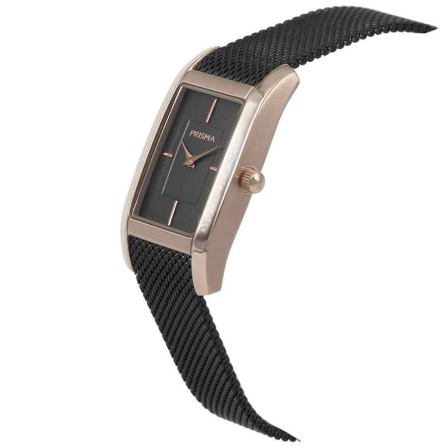 Prisma P1836 dames horloge milanees vierkant zwart rosegoud