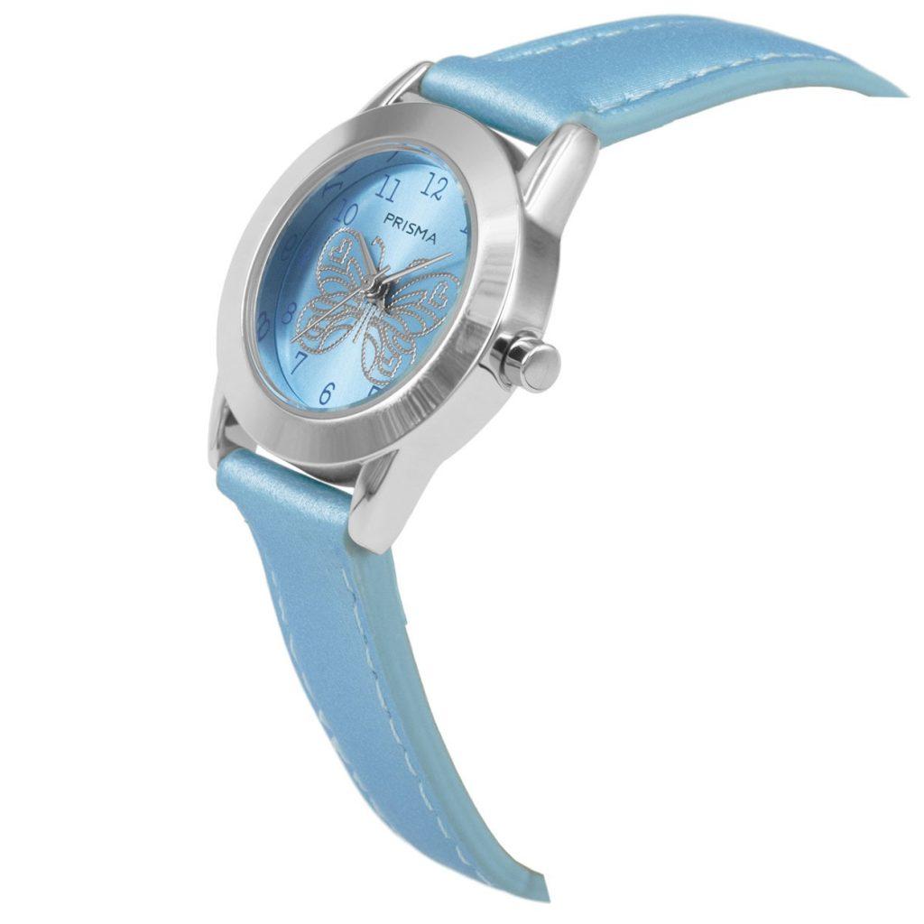 Prisma-CW184-kids-horloge-butterfly cool-blauw-schuin