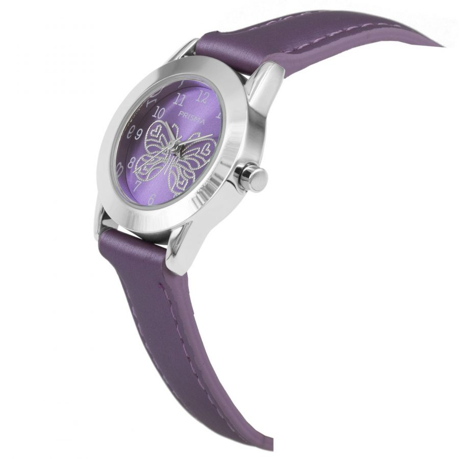 Prisma-CW185-kids-horloge-butterfly-cool-paars-schuin