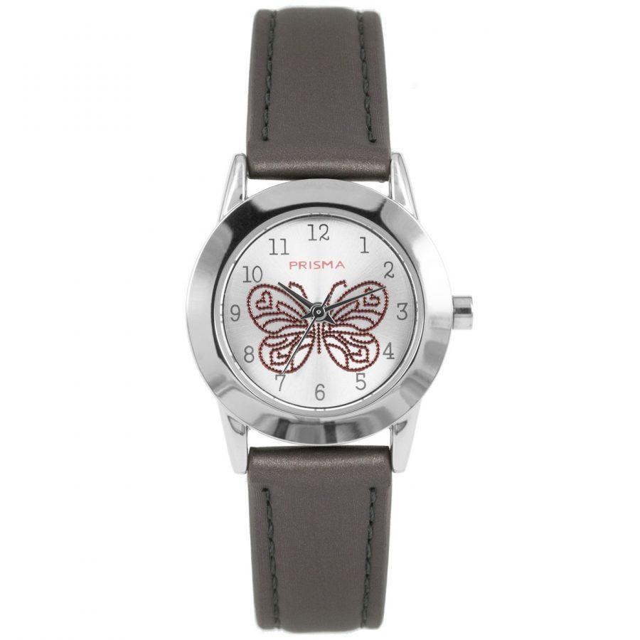 Prisma-CW186-kids-horloge-butterfly-cool-grijs