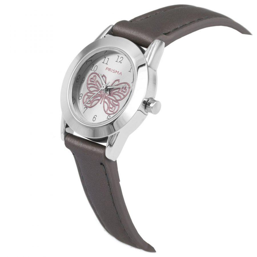Prisma-CW186-kids-horloge-butterfly-cool-grijs-schuin