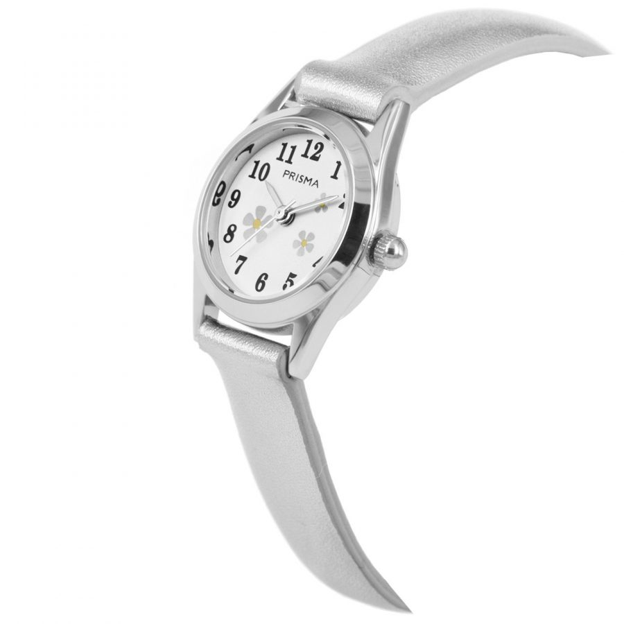 Prisma-CW200-kids-horloge-flower-small-zilver-schuin