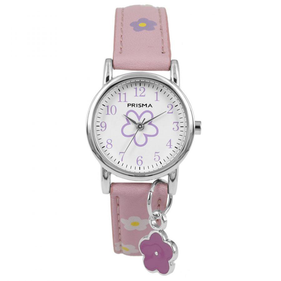 Prisma-CW320-kids-horloge-flower big-roze-bedel