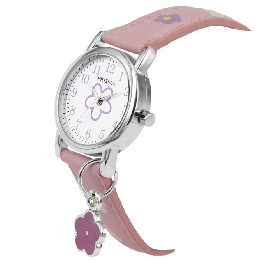 Prisma-CW320-kids-horloge-flower big-roze-bedel-schuin