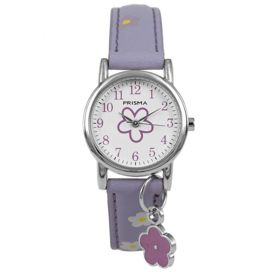 Prisma-CW321-kids-horloge-flower big-paars-bedel
