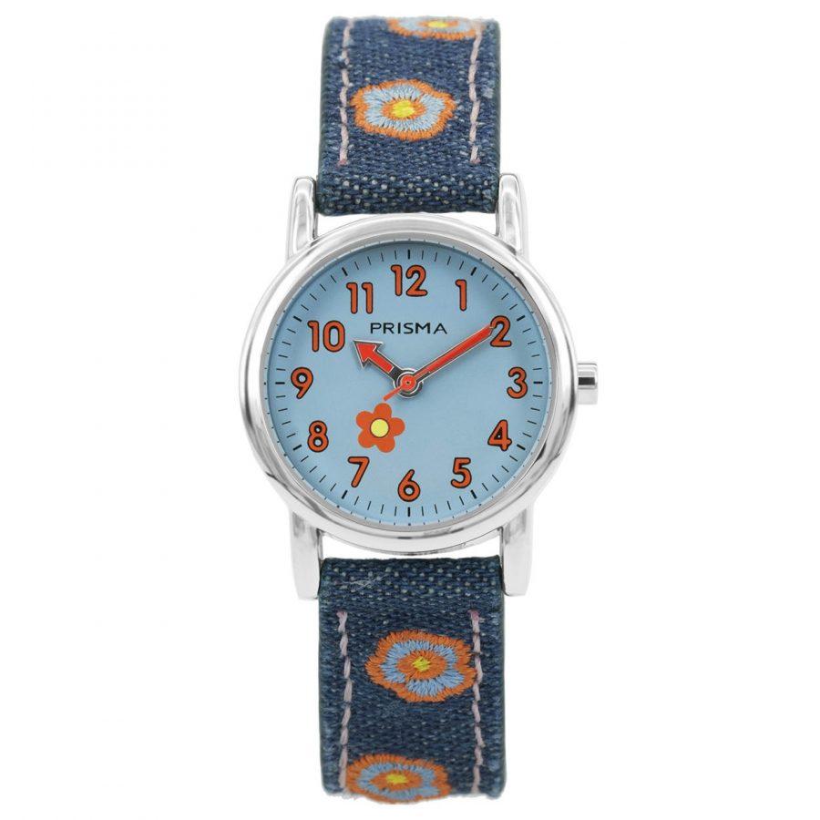 Prisma-CW323-kids-horloge-denim-blauw-oranje