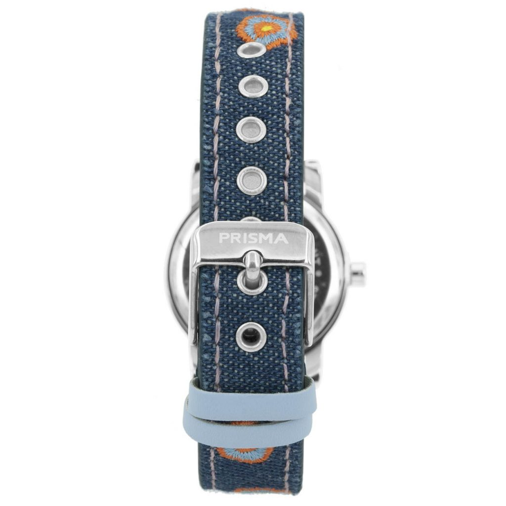 Prisma-CW323-kids-horloge-denim-blauw-oranje-achterkant