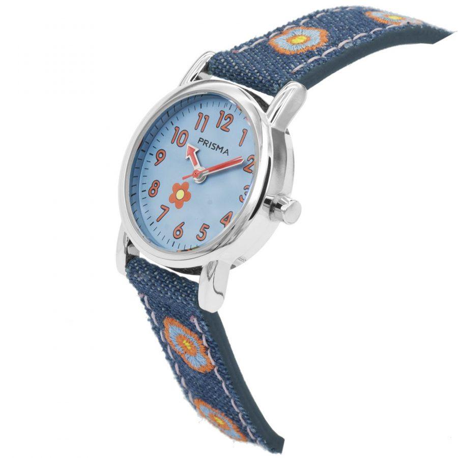 Prisma-CW323-kids-horloge-denim-blauw-oranje-schuin