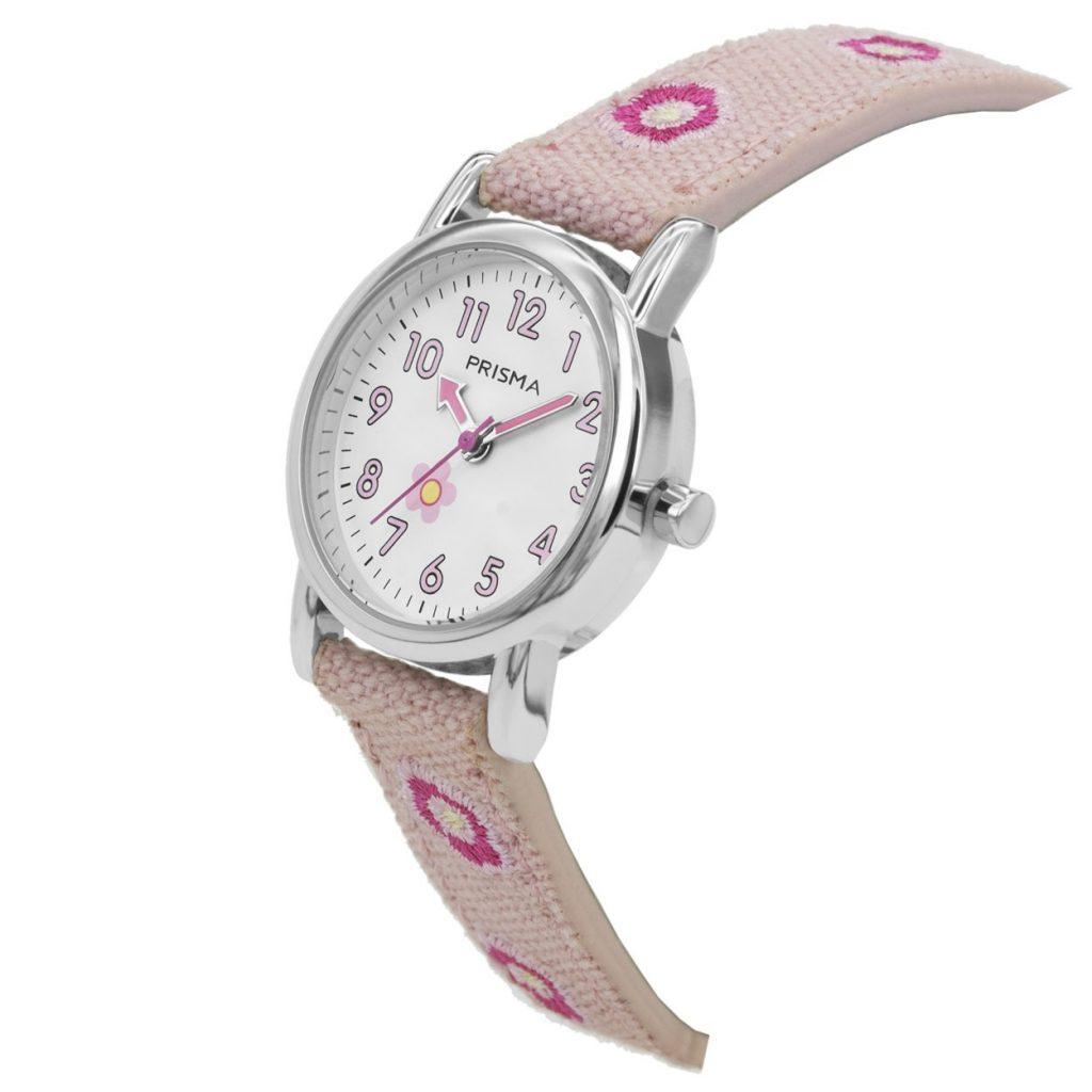 Prisma-CW324-kids-horloge-denim-lichtroze-schuin