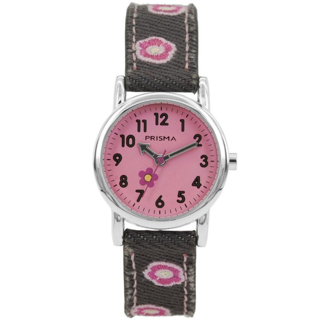 Prisma-CW325-kids-horloge-denim-grijs-roze