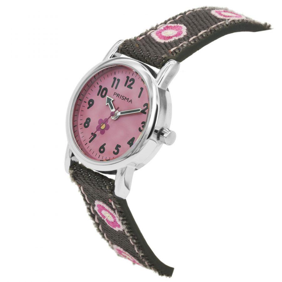 Prisma-CW325-kids-horloge-denim-grijs-roze-schuin