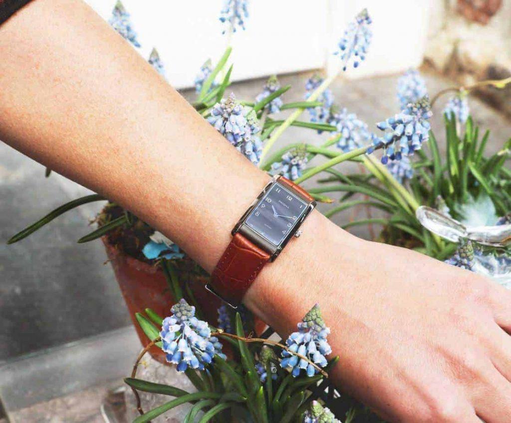 precise quadra prisma vierkant horloges titanium zilver silver square watch
