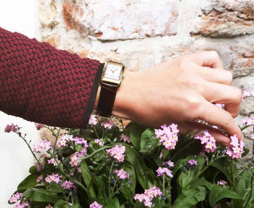 precise quadra prisma vierkant horloges titanium goud bloemen gold rectangular watch
