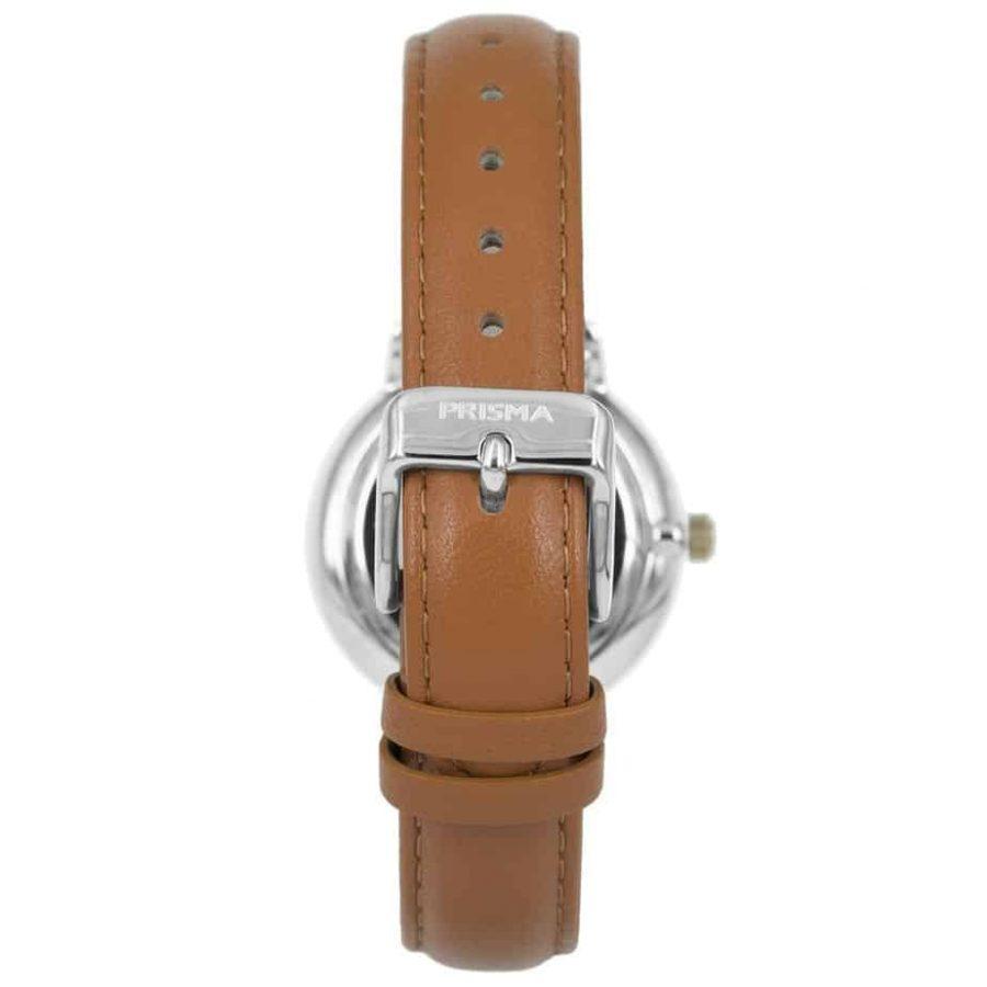 Prisma-P1440-dames-horloge-bicolor-cognac-achterkant