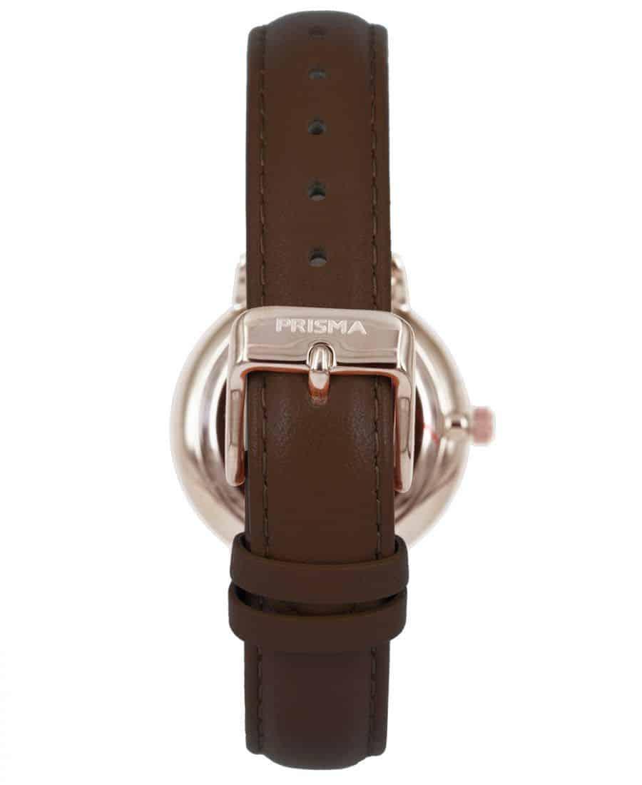 Prisma-P1441-dames-horloge-rosegoud-bruin-achterkant
