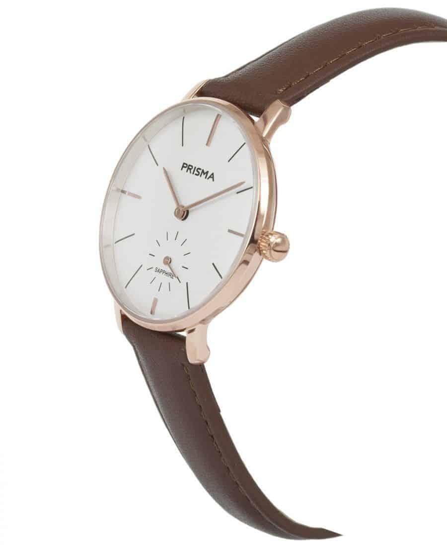 Prisma-P1441-dames-horloge-rosegoud-bruin-schuin