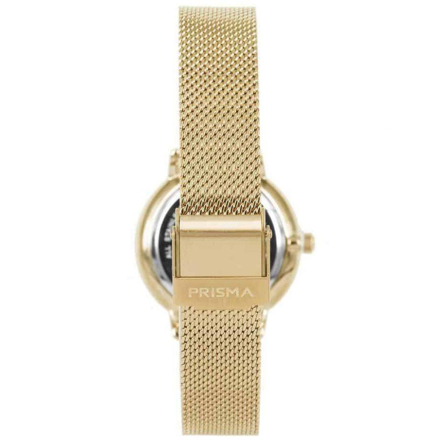 Prisma-P1442-dames-horloge-goud-groen-milanees-achterkant