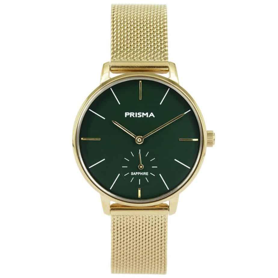 Prisma-P1442-dames-horloge-goud-groen-milanees-l