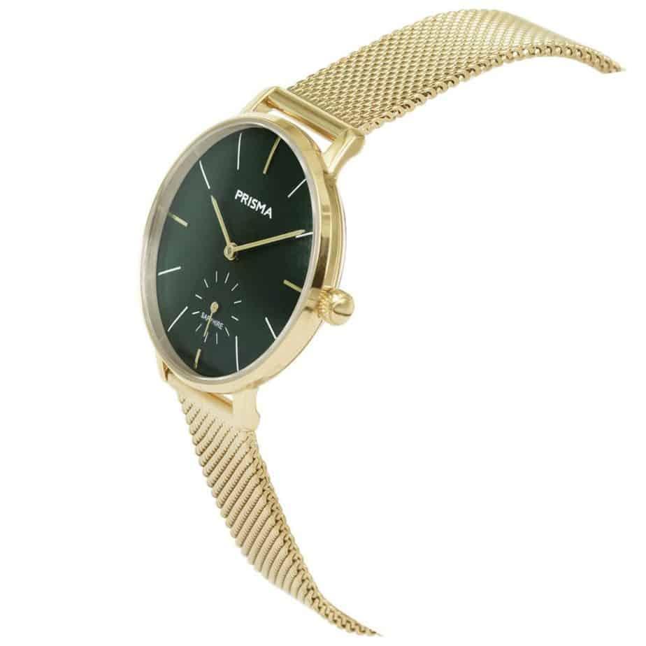 Prisma-P1442-dames-horloge-goud-groen-milanees-schuin