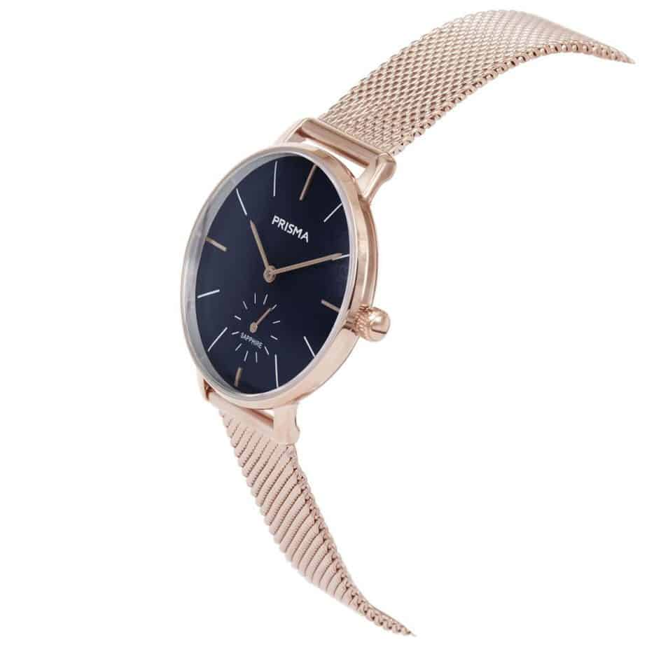 Prisma-P1443-dames-horloge-rosegoud-milanees-schuin