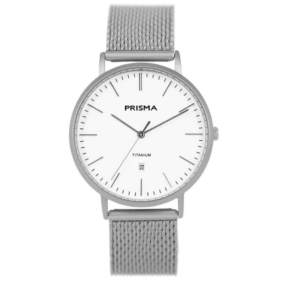 Prisma 1487 Tailor P1487 heren horloge titanium milanees horlogeband