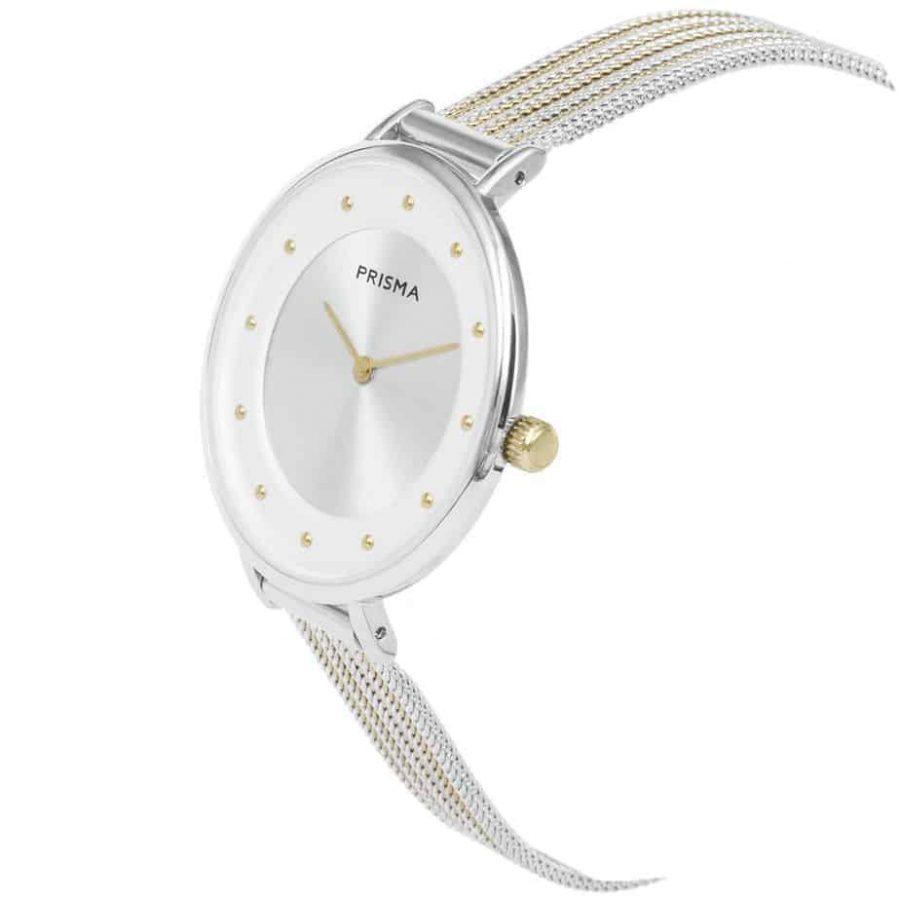 Prisma-P1877-dames-horloges-edelstaal-milanees-bicolor-schuin-l