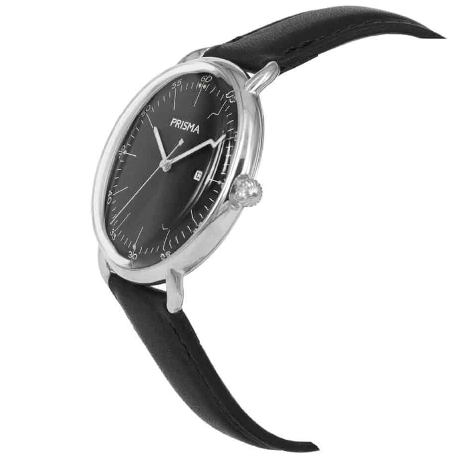Prisma-P1911-heren-horloge-dome-zwart-schuin