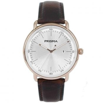 Prisma 1913 dome horloge design vintage watch P1913 heren men watch rosegold