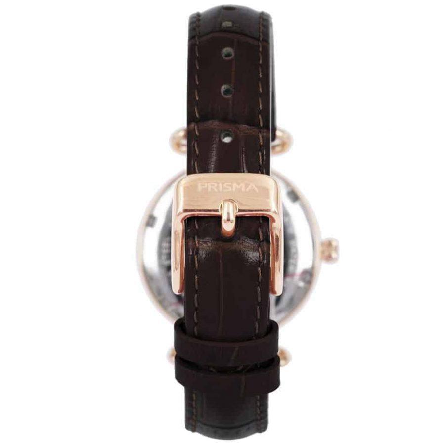Prisma-P1931-dames-horloge-edelstaal-saffier-bruin-achterkant-l
