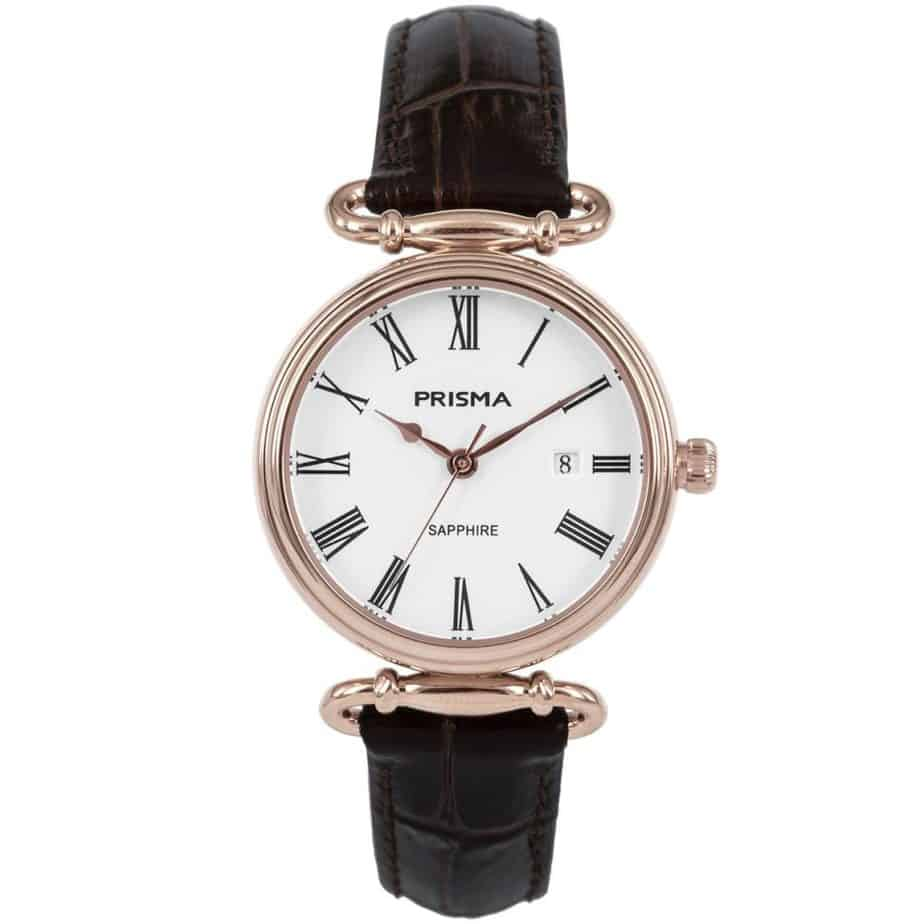 Prisma-P1931-dames-horloge-edelstaal-saffier-bruin-l