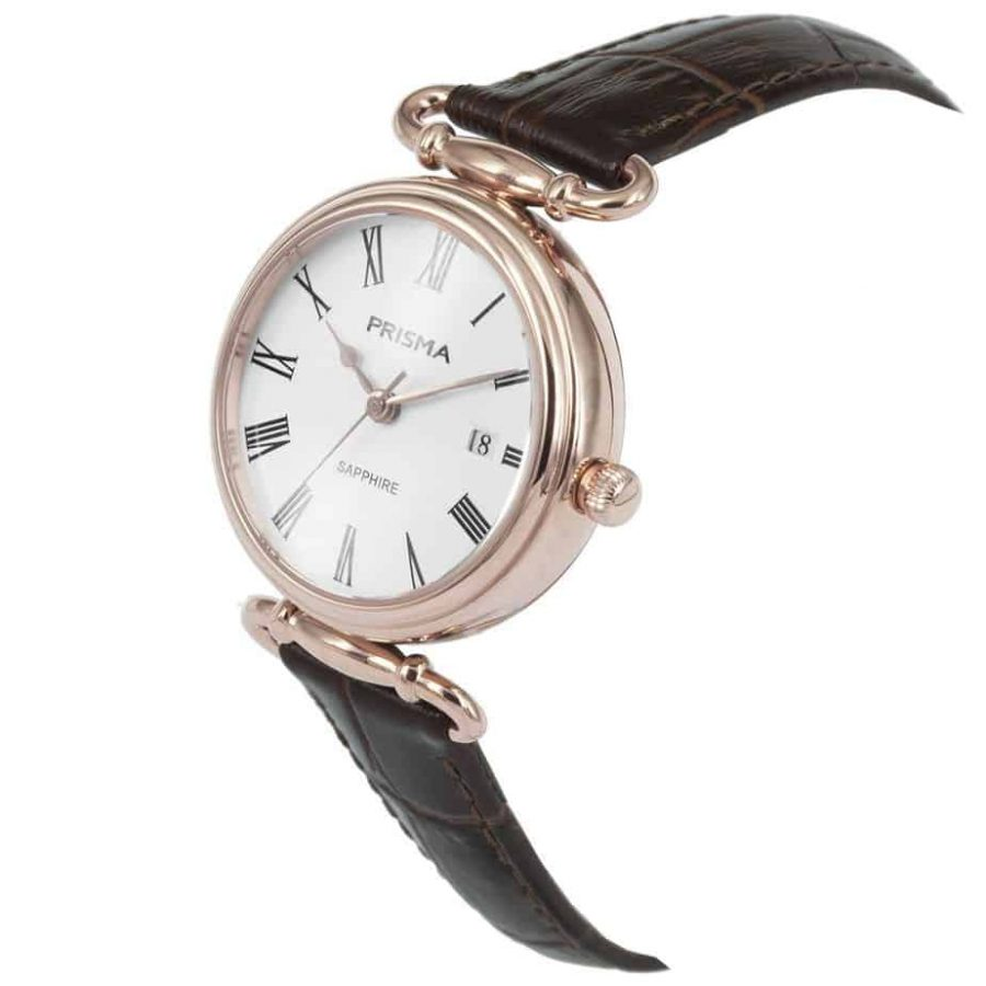Prisma-P1931-dames-horloge-edelstaal-saffier-bruin-schuin-l