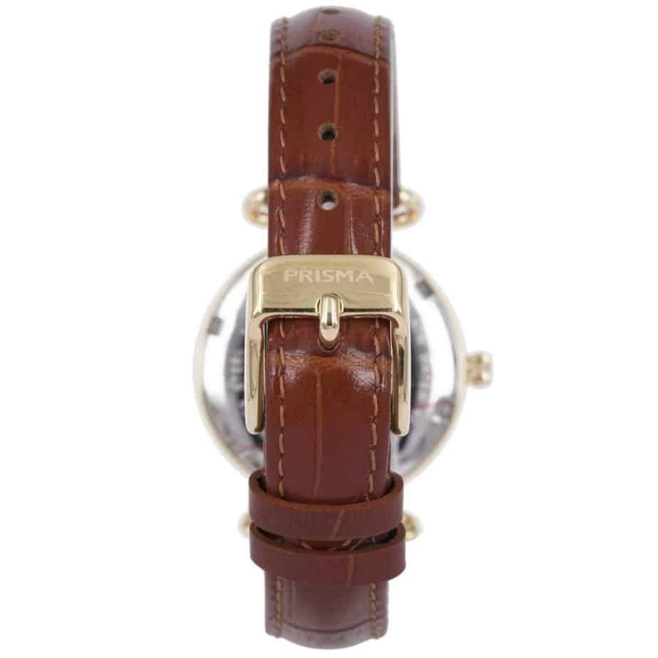 Prisma-P1932-dames-horloge-edelstaal-saffier-cognac-achterkant-l