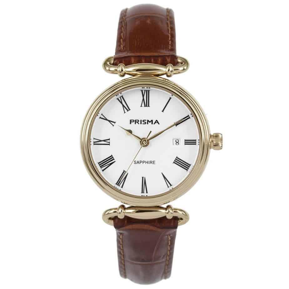 Prisma-P1932-dames-horloge-edelstaal-saffier-cognac-l