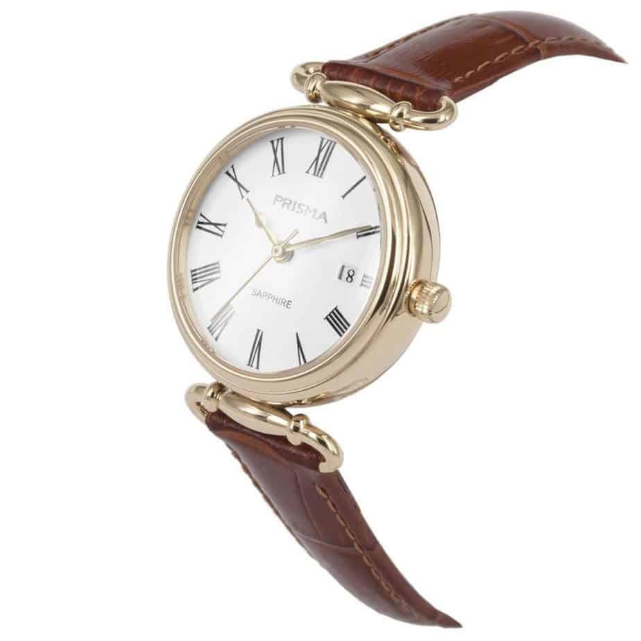 Prisma-P1932-dames-horloge-edelstaal-saffier-cognac-schuin-l