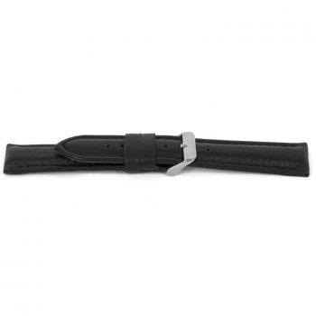 horlogeband 017 claudio calli leder black watch strap NFC tag lederen leather leder zwart