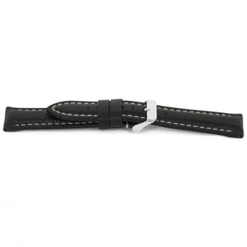 horlogeband 018 claudio calli leder black watch strap NFC tag lederen leather leder zwart