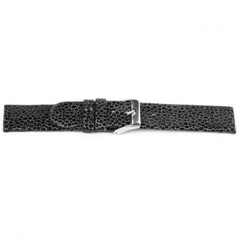 horlogeband 136 claudio calli leder zwart stony creek graphite watch strap lederen NFC band black