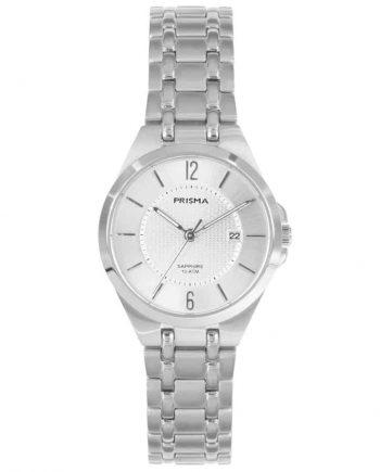 Prisma P1260 dames horloge titanium datum zilver saffierglas