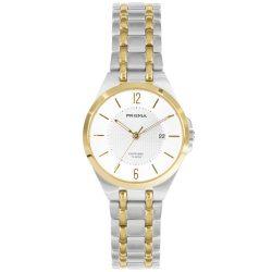 Prisma P1261 dames horloge titanium datum bicolor saffier