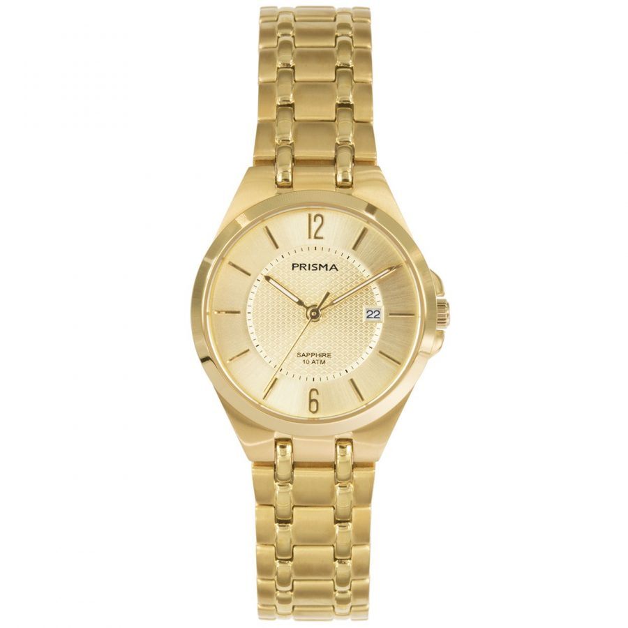 Prisma P1262 dames horloge titanium datum goud saffierglas
