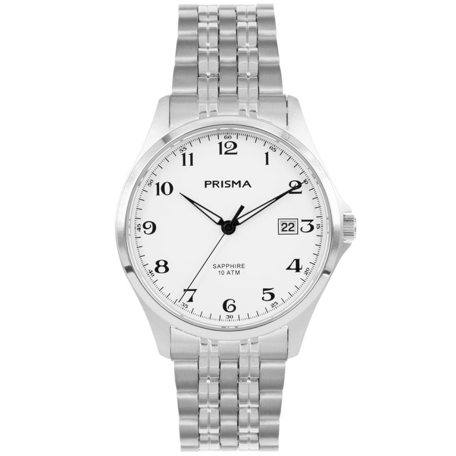 Prisma P1270 heren horloge titanium zilver wit saffierglas 10ATM