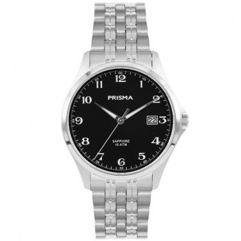 Prisma P1271 heren horloge titanium zilver zwart saffierglas 10ATM