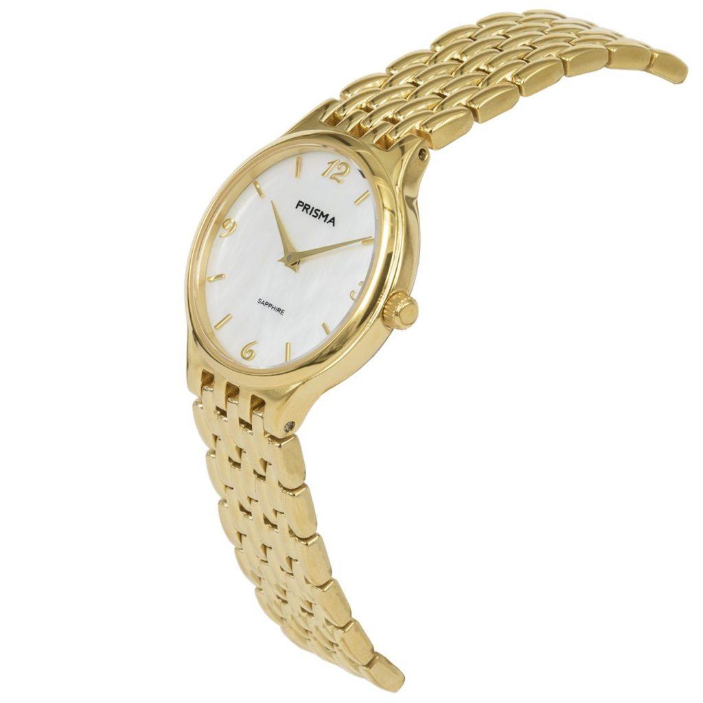 Prisma P1277 dames horloge titanium goud parelmoer schuin