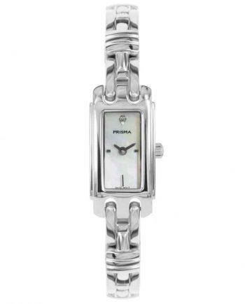 Prisma P1760 dames horloge edelstaal zilver rechthoekig parelmoer